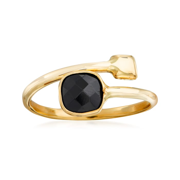 Italian Black Onyx Bypass Ring in 14kt Yellow Gold