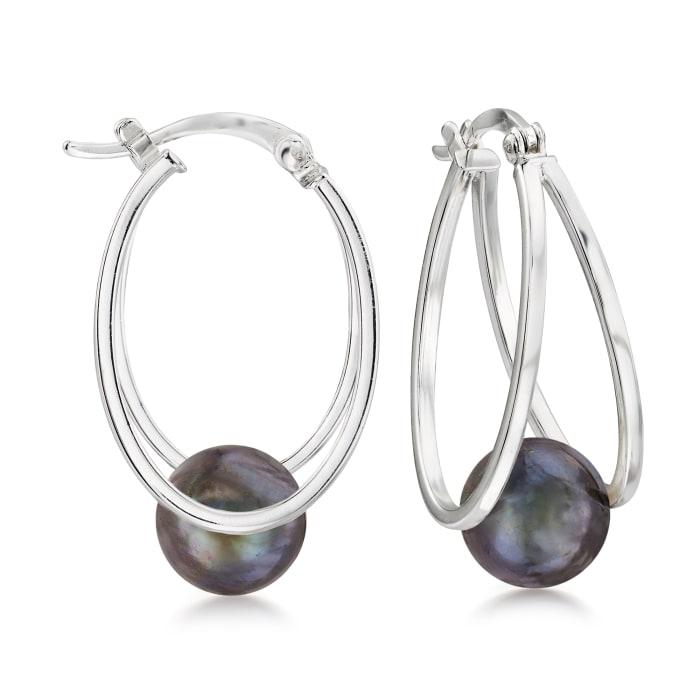 8-9mm Black Cultured Pearl Double-Hoop Earrings in Sterling Silver