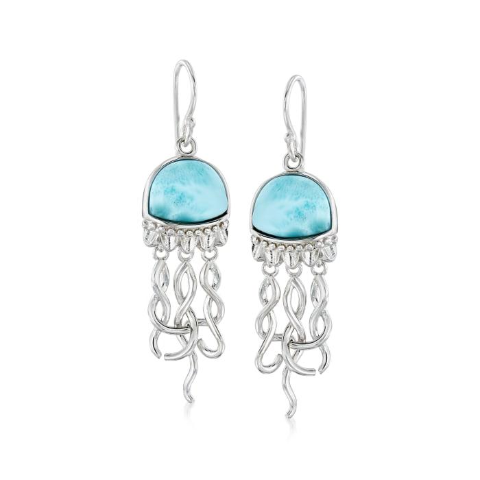Larimar Jellyfish Drop Earrings in Sterling Silver