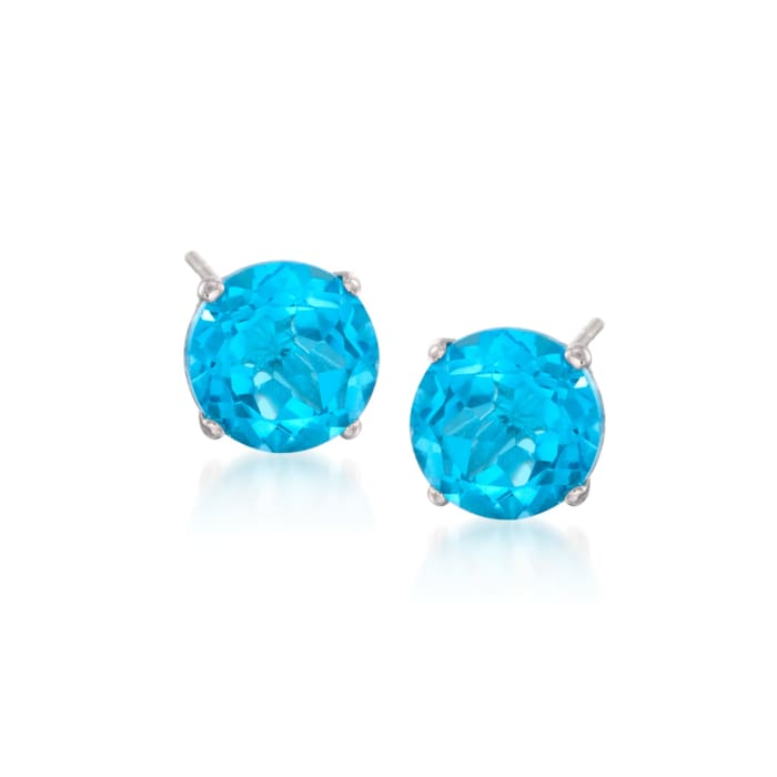 4.70 ct. t.w. Round Blue Topaz Stud Earrings in 14kt White Gold