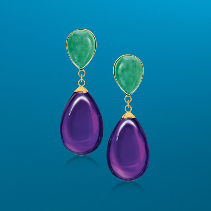 Jade and Amethyst Teardrop Earrings in 14kt Yellow Gold