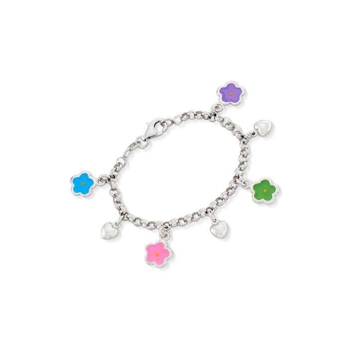 Child's Sterling Silver and Enamel Flower Charm Bracelet