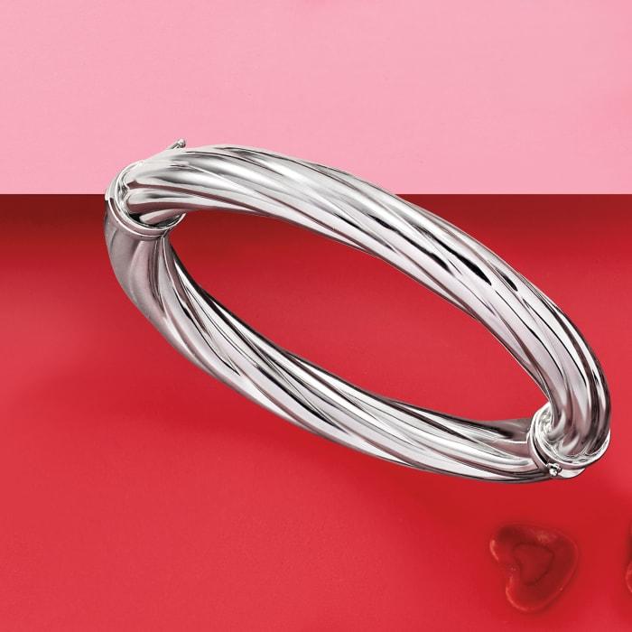 Italian Sterling Silver Twisted Oval Bangle Bracelet