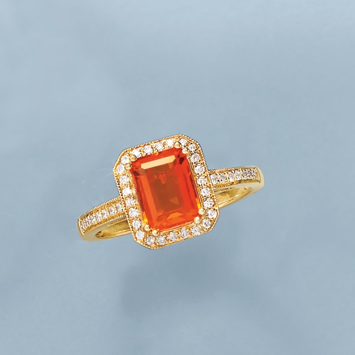 Fire Opal and .21 ct. t.w. Diamond Ring in 14kt Yellow Gold