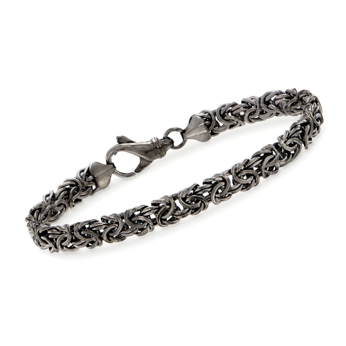 Sterling Silver Byzantine Bracelet in Black