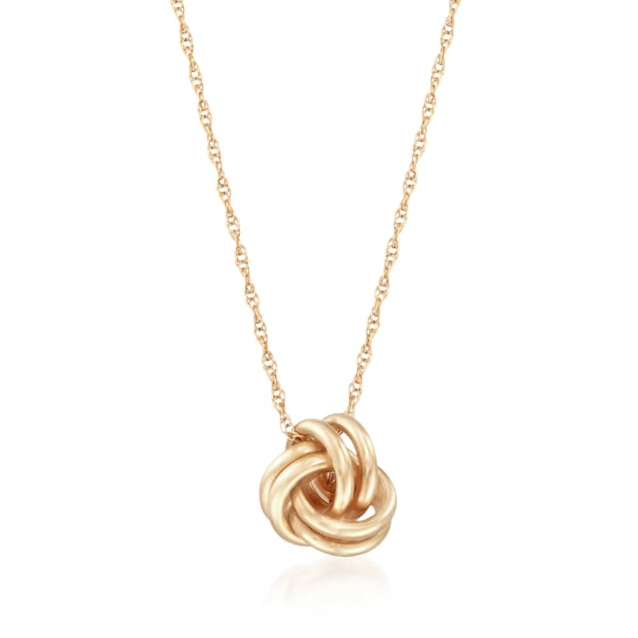 14kt Yellow Gold Love Knot Jewelry Set: Necklace and Earrings