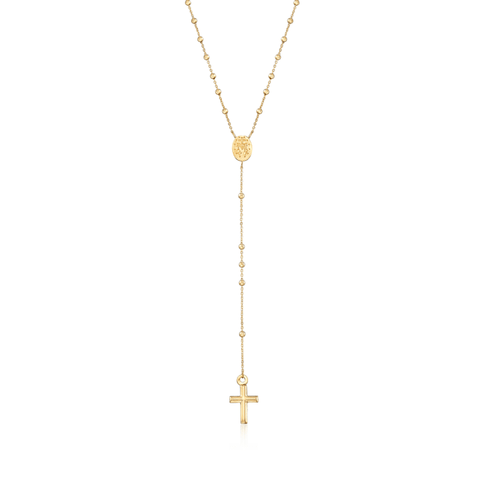 Italian 14kt Yellow Gold Miraculous Medal Rosary Necklace