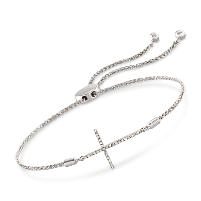 .10 ct. t.w. Diamond Sideways Cross Bolo Bracelet in Sterling Silver