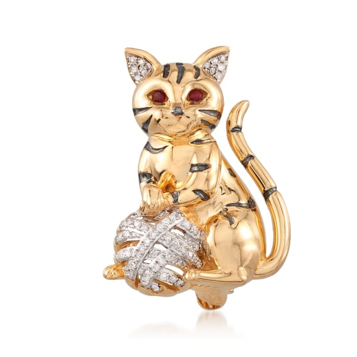 .16 ct. t.w. Diamond Cat Pin Pendant with Garnet Accents in 18kt Gold Over Sterling