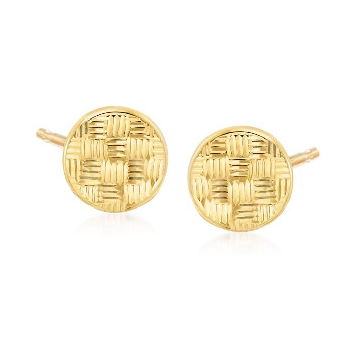14kt Yellow Gold Basketweave Circle Stud Earrings