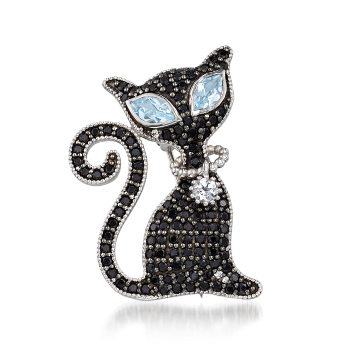 2.00 ct. t.w. Black Spinel and 1.40 ct. t.w. Blue and White Topaz Cat Pin Pendant Necklace in Sterling