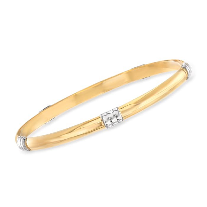 Italian 14kt Two-Tone Gold Bangle Bracelet
