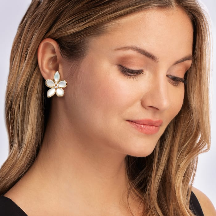 Mother-Of-Pearl and .40 ct. t.w. Diamond Flower Earrings in 14kt Yellow Gold