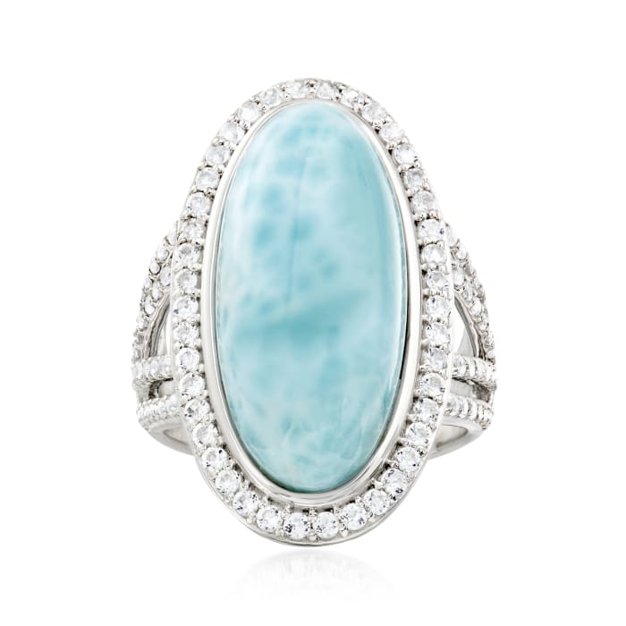 Larimar and 1.30 ct. t.w. White Topaz Ring in Sterling Silver
