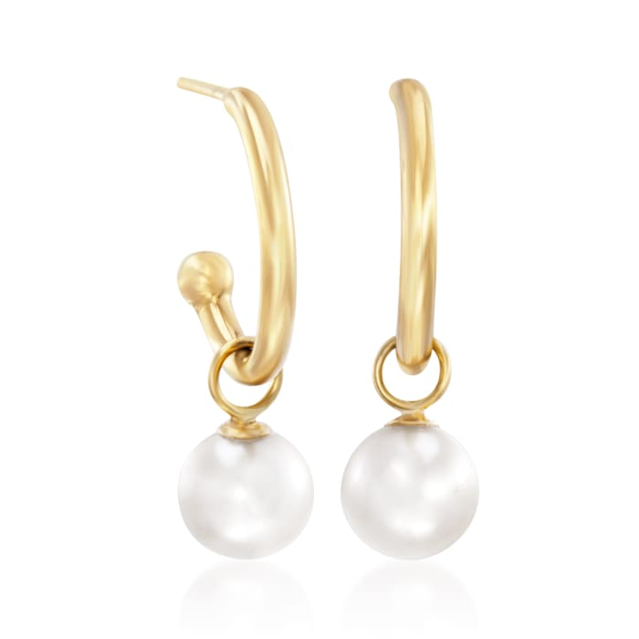 6mm Cultured Pearl Drop Tube Hoop Earrings in 14kt Yellow Gold