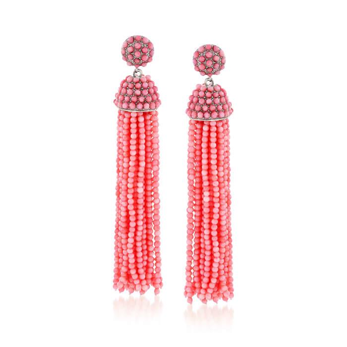 Pink Coral Bead Tassel Earrings in Sterling Silver