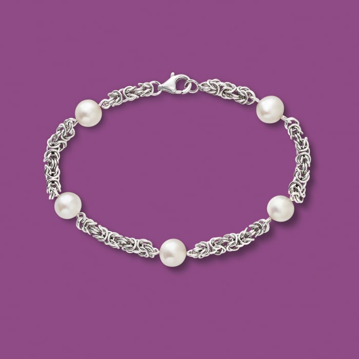 7mm Cultured Pearl Byzantine Station Bracelet in Sterling Silver
