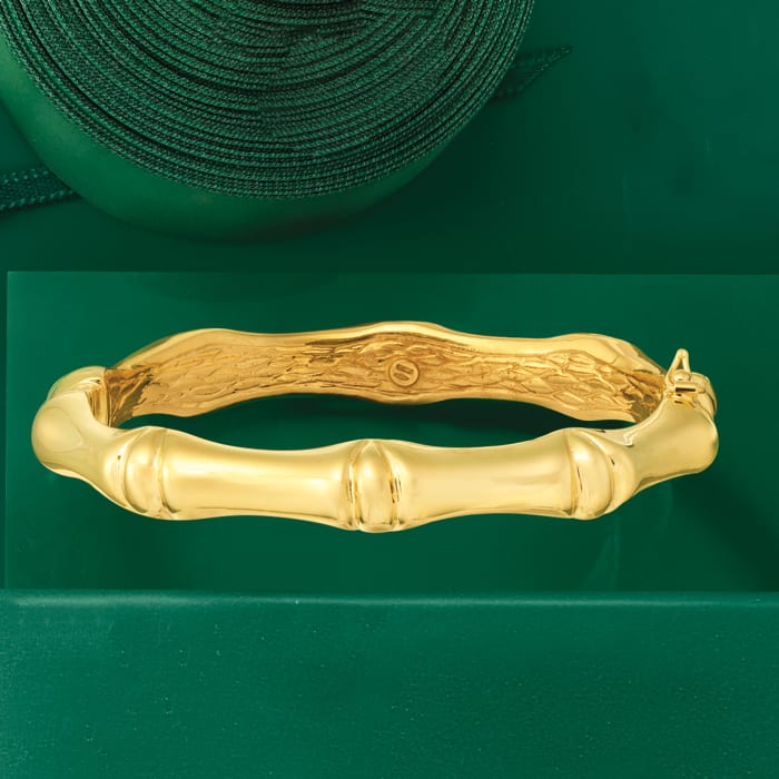 Italian 18kt Yellow Gold Bamboo-Style Bangle Bracelet