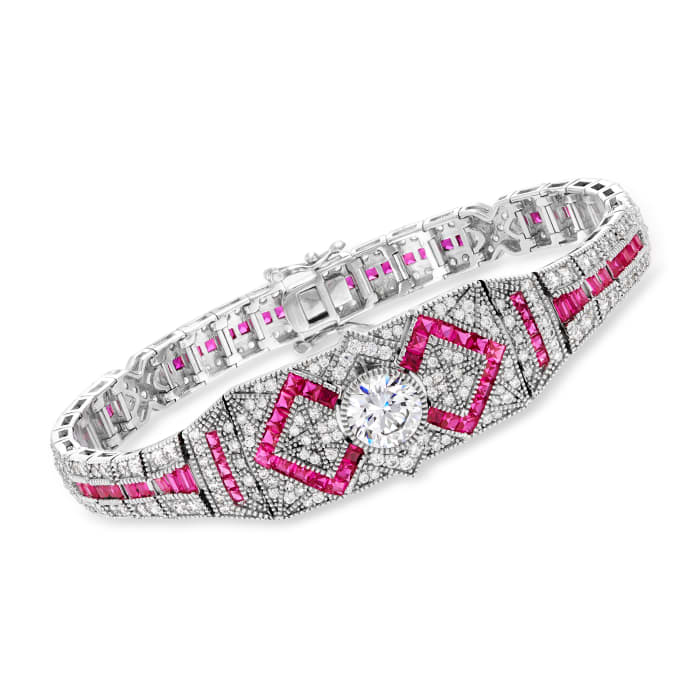 4.65 ct. t.w. CZ and 3.74 ct. t.w. Simulated Ruby Bracelet in Sterling Silver