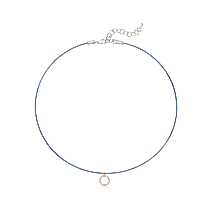 "ALOR ""Classique"" .14 ct. t.w. Diamond Blue Stainless Steel Cable Pendant Necklace with 18kt Rose Gold"