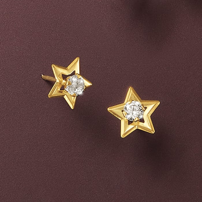 .20 ct. t.w. CZ Star Stud Earrings in 14kt Yellow Gold