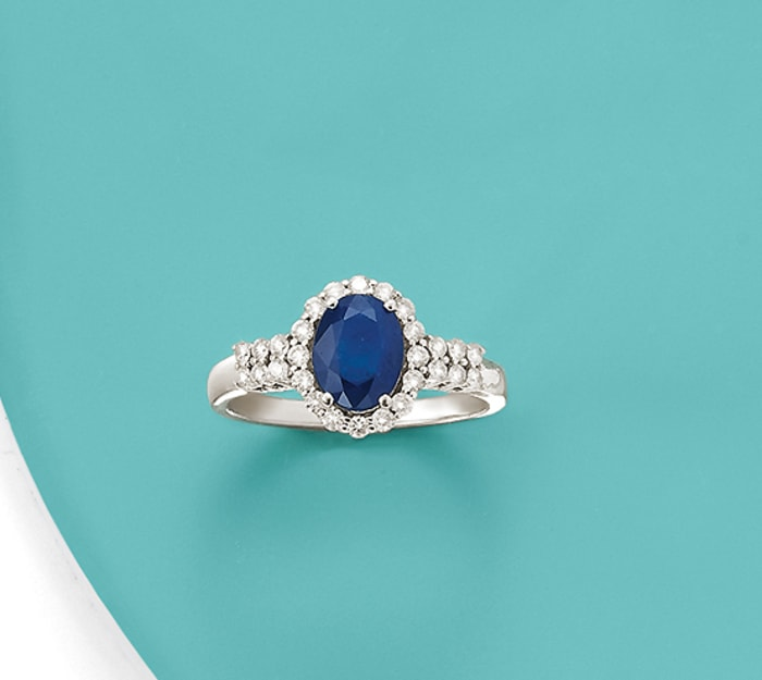 1.30 Carat Sapphire and .33 ct. t.w. Diamond Ring in 14kt White Gold