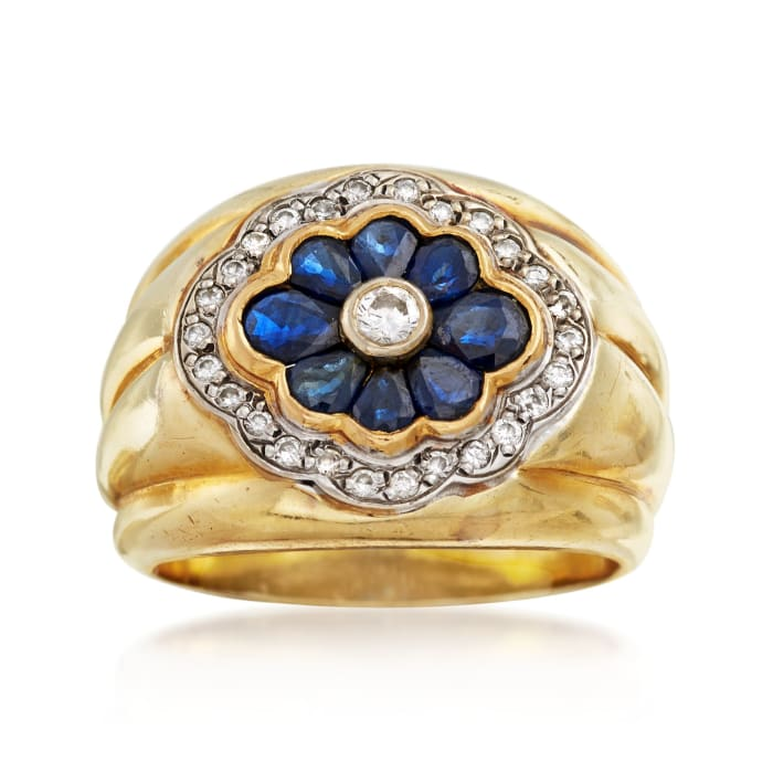 C. 1980 Vintage 1.40 ct. t.w. Sapphire and .35 ct. t.w. Diamond Floral Ring in 14kt Yellow Gold