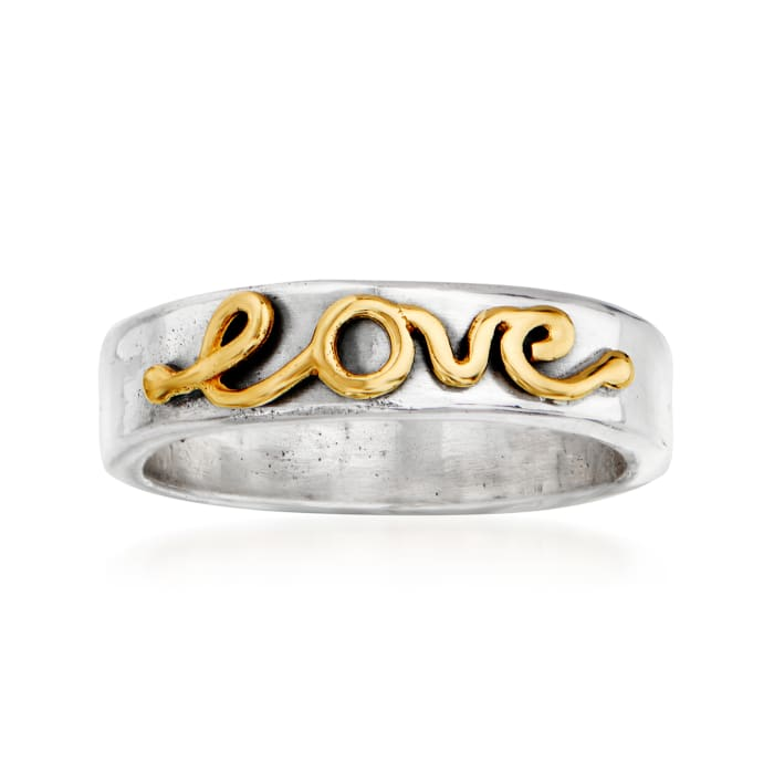 """Sterling Silver and 14kt Yellow Gold """"Love"""" Ring"""