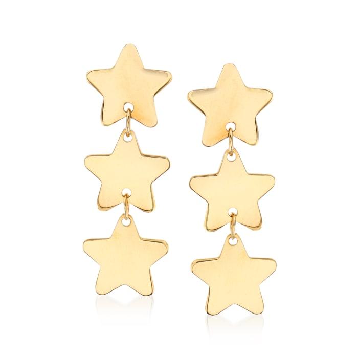 Italian 14kt Yellow Gold Triple Star Drop Earrings