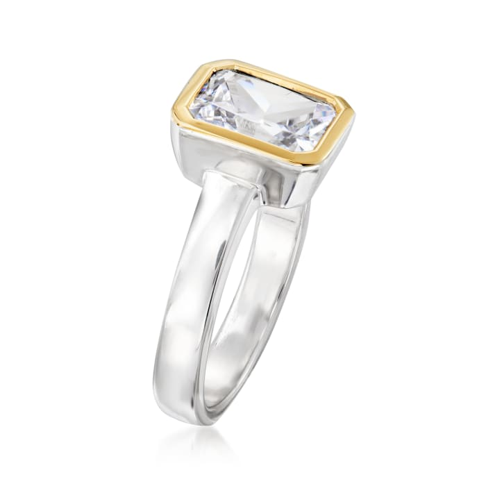 3.00 Carat CZ Ring in Sterling Silver and 14kt Yellow Gold