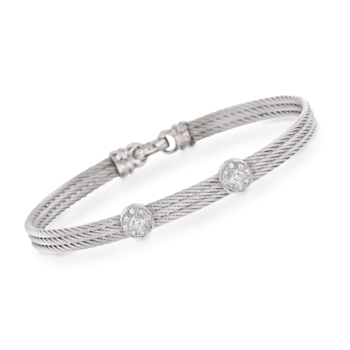 "ALOR ""Classique"" Gray Cable Double-Station Bracelet with Diamond Accents and 18kt White Gold"