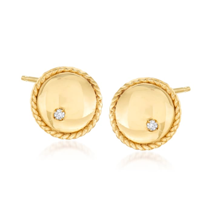 """Phillip Gavriel """"Italian Cable"""" Stud Earrings with Diamond Accents in 14kt Yellow Gold"""