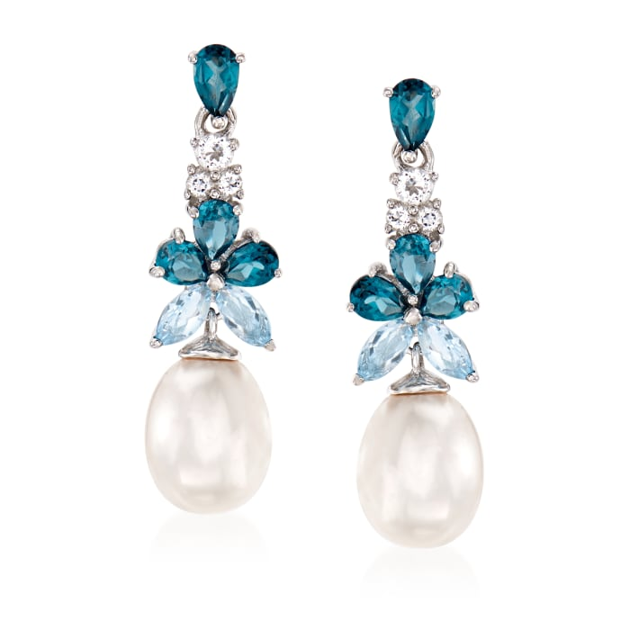 8.5-9mm Cultured Pearl and 2.30 ct. t.w. Blue and White Topaz Drop Earrings in Sterling Silver