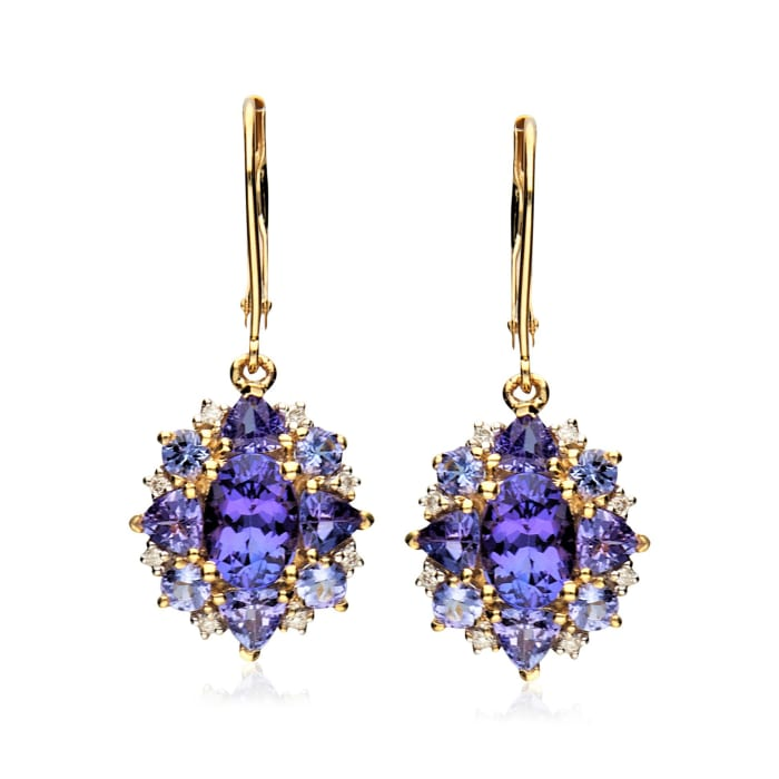 3.00 ct. t.w. Tanzanite Drop Earrings with Diamond Accents in 14kt Yellow Gold