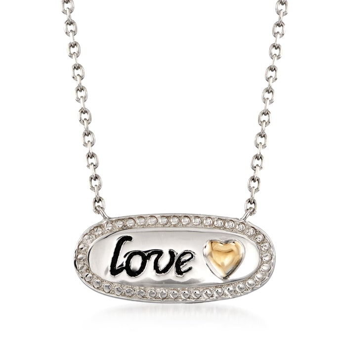 "Sterling Silver and 14kt Gold Inspirational ""Love"" Necklace"