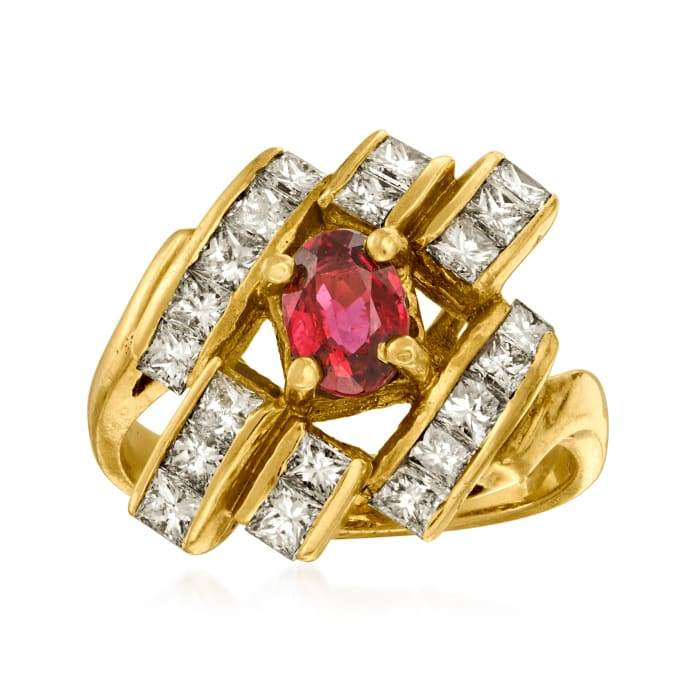 C. 1980 Vintage 1.40 ct. t.w. Diamond and .60 Carat Ruby Ring in 18kt Yellow Gold