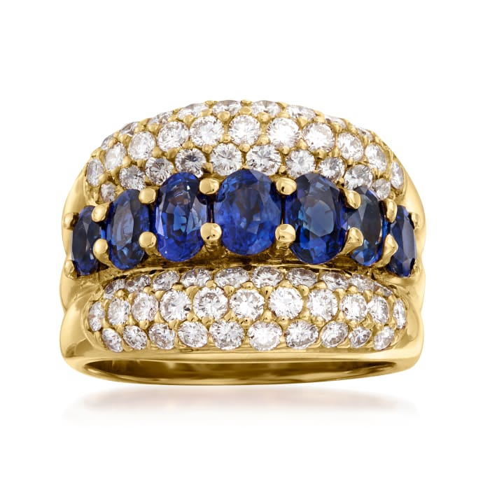 C. 1980 Vintage 2.59 ct. t.w. Sapphire and 1.49 ct. t.w. Diamond Ring in 18kt Yellow Gold