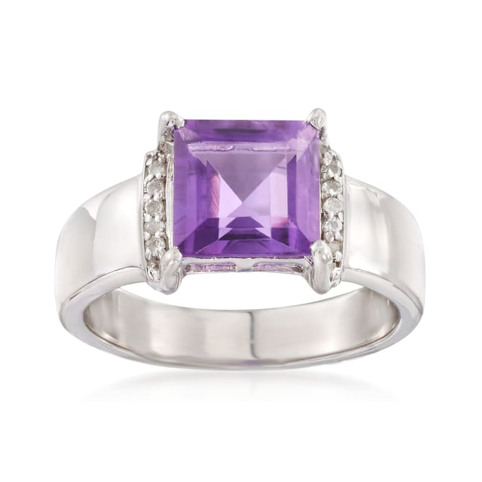2.30 Carat Amethyst Ring with White Topaz Accents in Sterling Silver