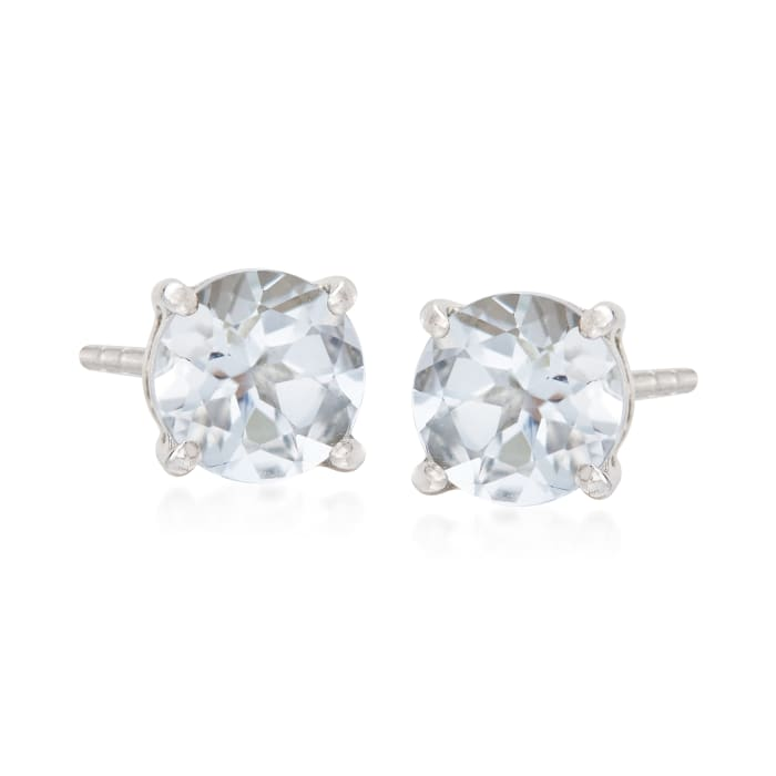 .80 ct. t.w. Round Aquamarine Stud Earrings with Teacup Settings in Sterling Silver
