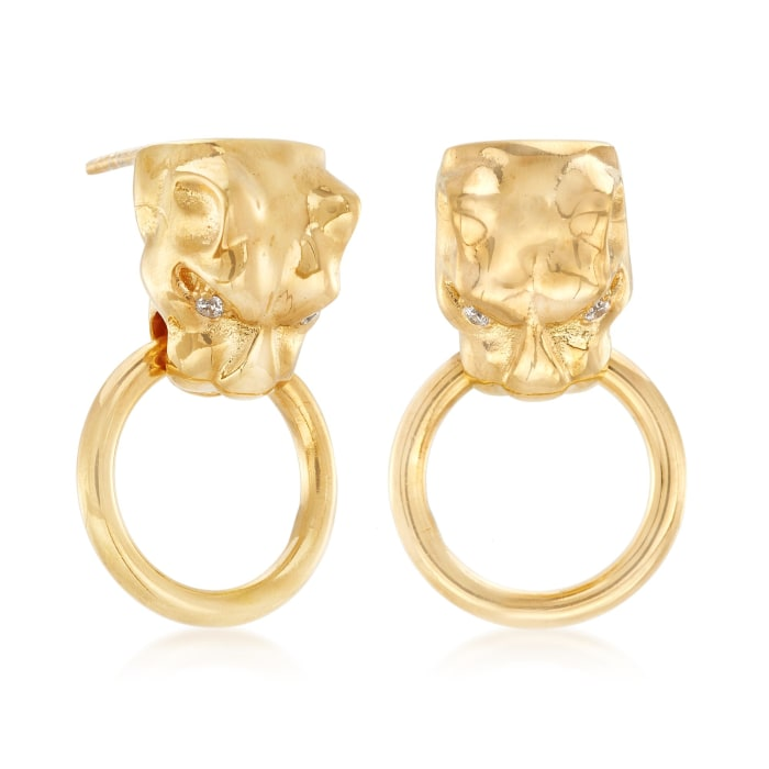 Italian 18kt Yellow Gold Over Sterling Silver Panther Head Doorknocker Earrings with CZ Accents