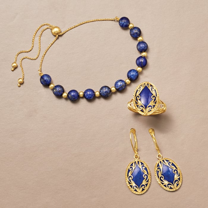 Lapis and 14kt Yellow Gold Bead Bolo Bracelet