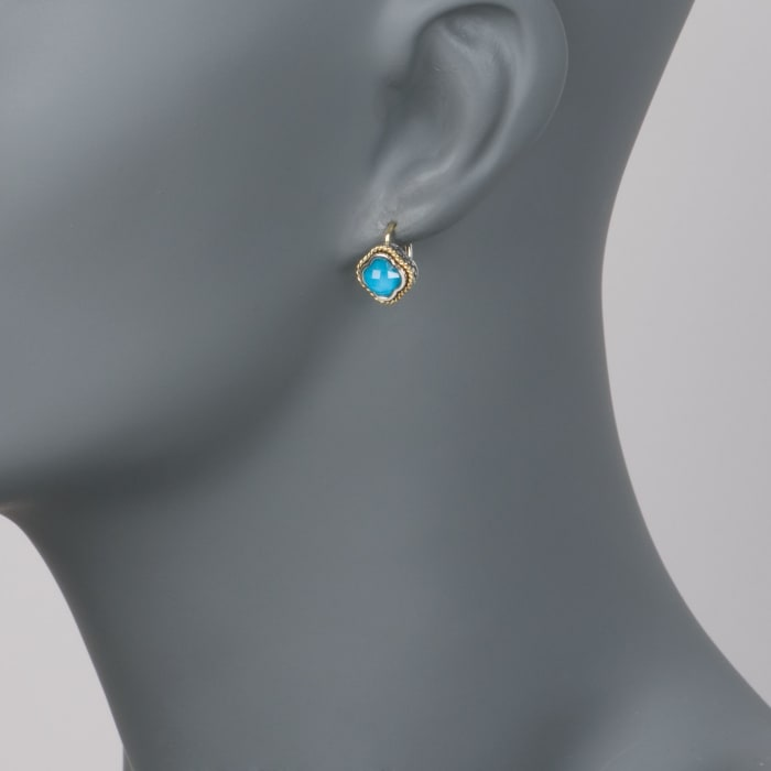 Andrea Candela Turquoise Clover Earrings in Two-Tone