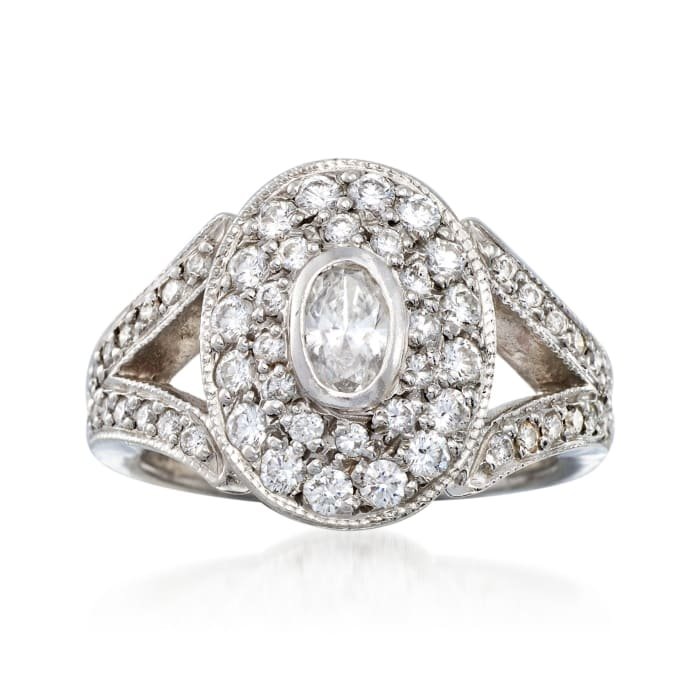 C. 2000 Vintage 1.15 ct. t.w. Diamond Oval-Top Ring in Platinum