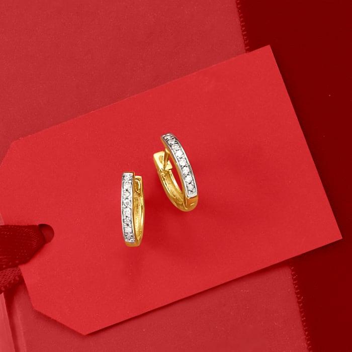 .10 ct. t.w. Diamond Huggie Hoop Earrings in 14kt Yellow Gold
