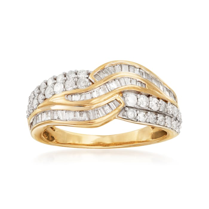 1.00 ct. t.w. Baguette and Round Diamond Curved Multi-Row Ring in 14kt Yellow Gold