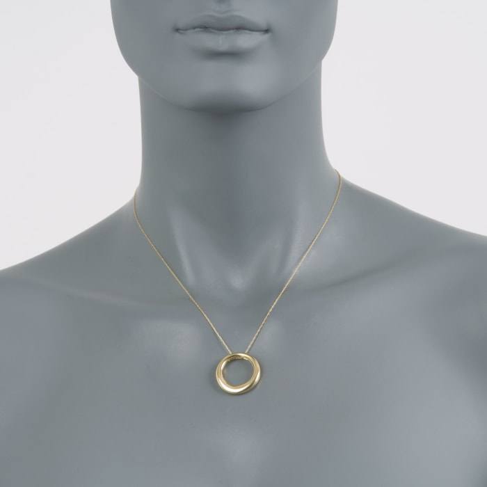 14kt Yellow Gold Open Eternity Circle Pendant Necklace 17-inch