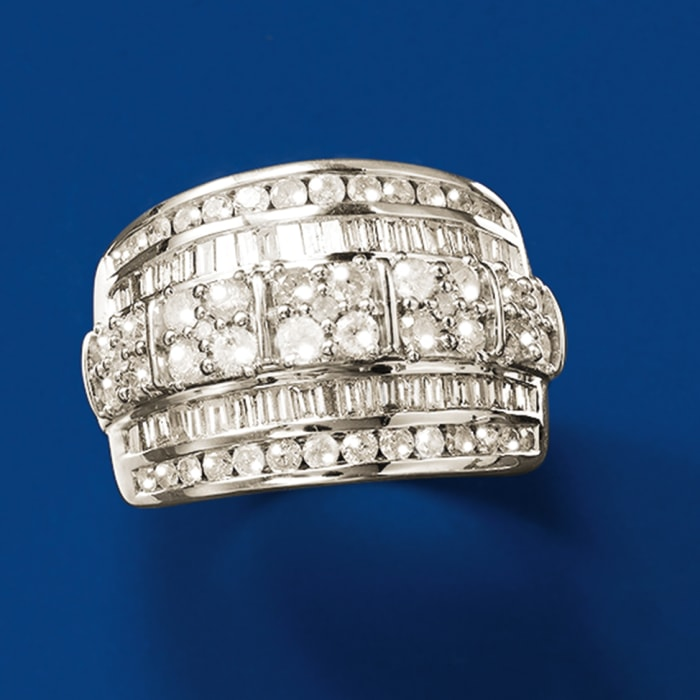 2.00 ct. t.w. Baguette and Round Diamond Multi-Row Ring in Sterling Silver
