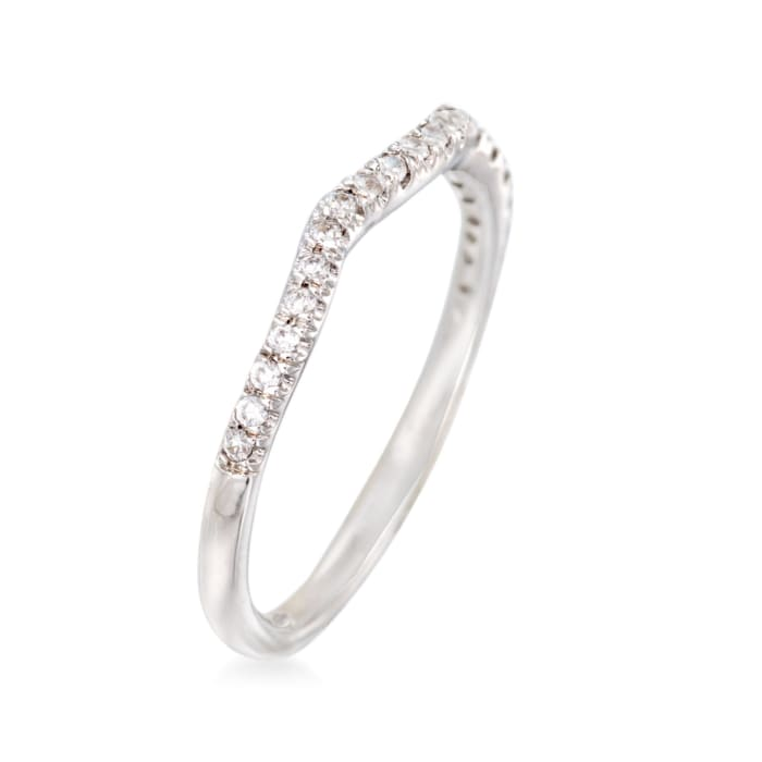 Gabriel Designs .16 ct. t.w. Diamond Curved Wedding Ring in 14kt White Gold
