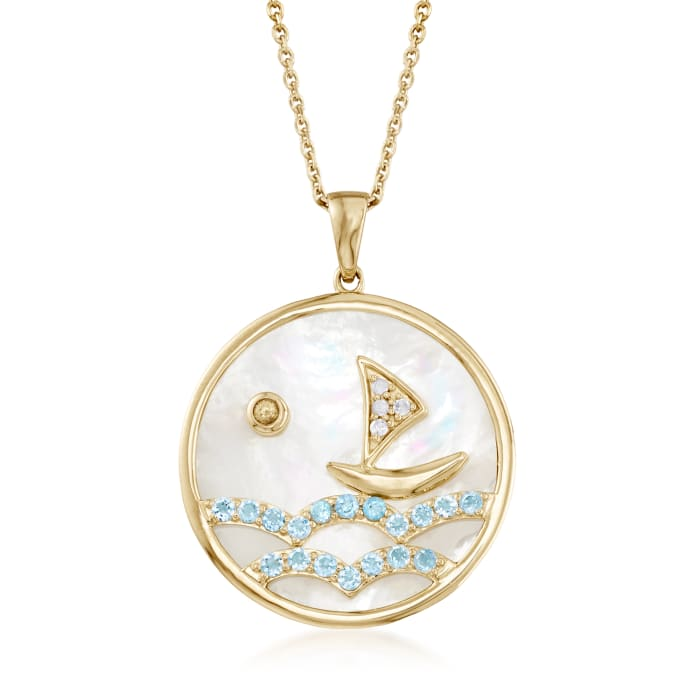 .90 ct. t.w. Swiss Blue Topaz Sailboat Pendant Necklace with Diamond and Sapphire Accents in 18kt Gold Over Sterling