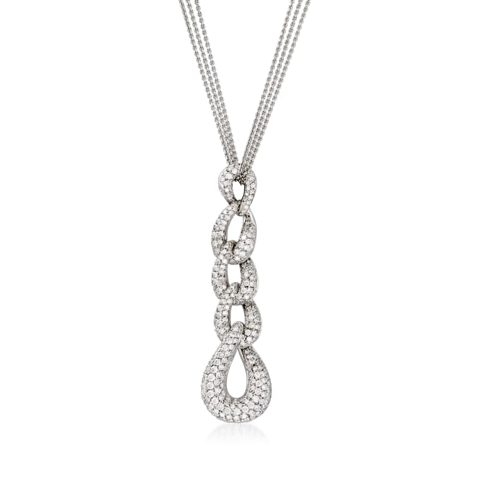 C. 1990 Vintage Bucherer 3.75 ct. t.w. Diamond Teardrop Necklace in 18kt White Gold